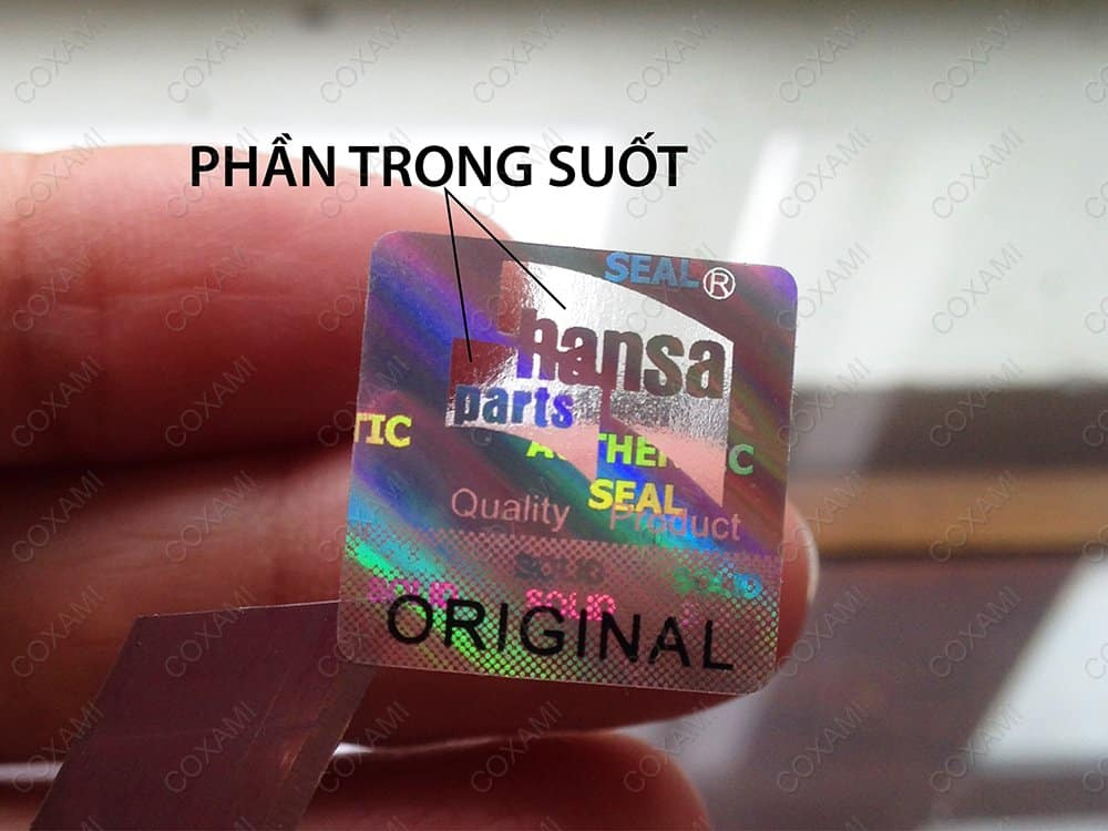 tem chống giả hologram trong suốt một phần